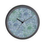 Blue and Green Peonies Wall Clock