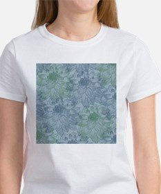 Blue and Green Peonies Tee