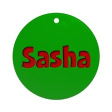 Sasha Green and Red Ornament (Round)
