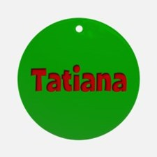 Tatiana Green and Red Ornament (Round)