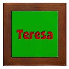 Teresa Green and Red Framed Tile