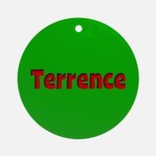 Terrence Green and Red Ornament (Round)