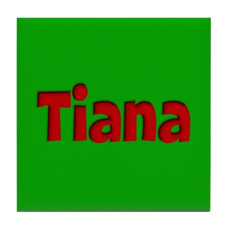 Tiana Green and Red Tile Coaster