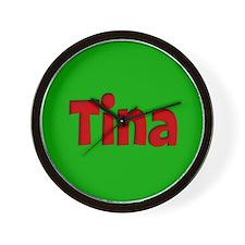 Tina Green and Red Wall Clock