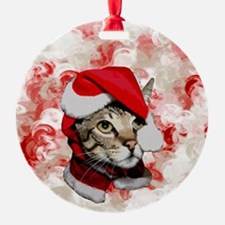 Santa Cat With Red Swirls Ornament