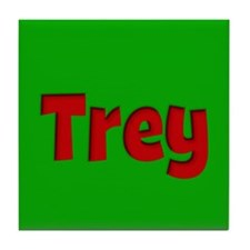 Trey Green and Red Tile Coaster