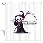 Hanging with Grim Shower Curtain