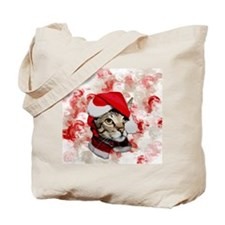Santa Cat With Red Swirls Tote Bag