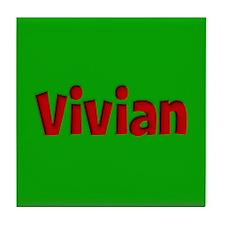 Vivian Green and Red Tile Coaster