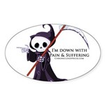 Hanging with Grim Sticker (Oval)