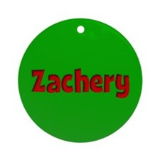 Zachery Green and Red Ornament (Round)