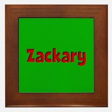 Zackary Green and Red Framed Tile