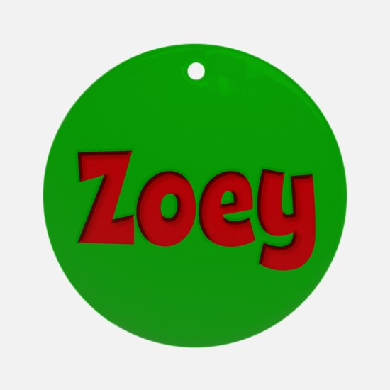 Zoey Green and Red Ornament (Round)