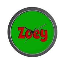 Zoey Green and Red Wall Clock