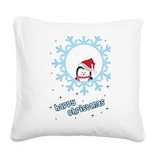 Snowflake penguin Square Canvas Pillow