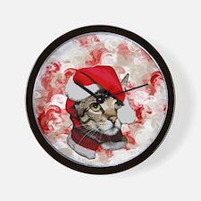 Santa Cat With Red Swirls Wall Clock