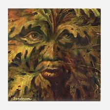 October Green Man Tile Coaster