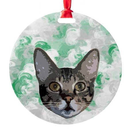 Gray And White Cat Green Portrait Round Ornament