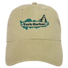 York Harbor ME - Surf Design. Baseball Cap