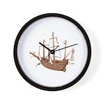 red brown sepia Santa Maria Boat Wall Clock
