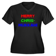 Merry Chrismukkah Women's Plus Size V-Neck Dark T-