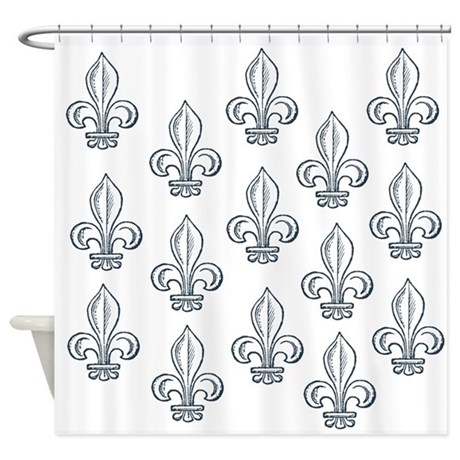 Blue Fleur De Lis Shower Curtain By Be Inspired By Life