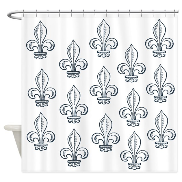 Blue fleur de lis shower curtain by be inspired by life - Fleur de lis shower curtains ...