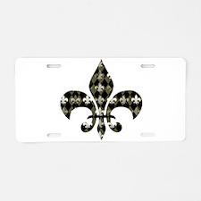 Gold and Black Fleur de lis Aluminum License Plate
