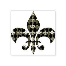 """Gold and Black Fleur de lis Square Sticker 3"""" x 3"""""""