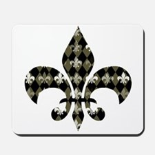 Gold and Black Fleur de lis Mousepad