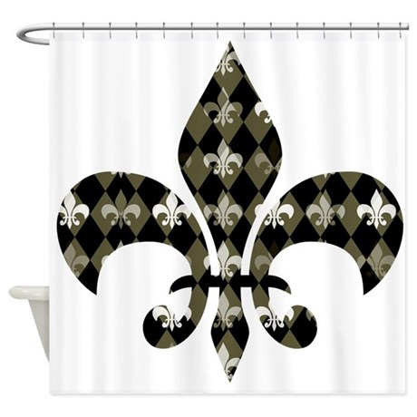 Gold and black fleur de lis shower curtain by be inspired by life - Fleur de lis shower curtains ...