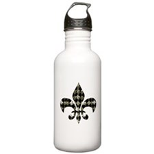 Gold and Black Fleur de lis Water Bottle