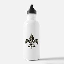 Gold and Black Fleur de lis Water Bottle