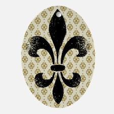 Fleur de lis Vintage Ornament (Oval)