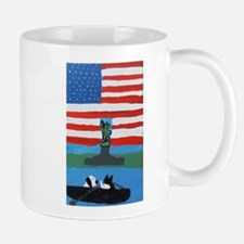 Dog and Cat in Boat by Statue of Liberty Mug