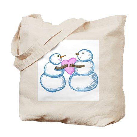 Snow Couple Tugging on a Heart by Kristie Hubler T