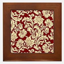 Cream and Scarlet Red Damask Framed Tile