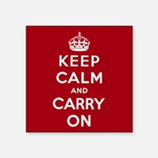 "Keep Calm And Carry On Square Sticker 3"" x 3"""