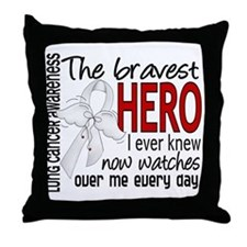 Bravest Hero I Knew Lung Cancer Throw Pillow