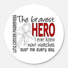 Bravest Hero I Knew Lung Cancer Round Car Magnet
