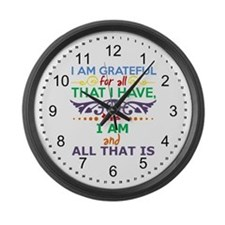 I Am Grateful Large Wall Clock