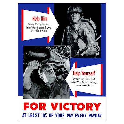 Digitally restored vector war propaganda poster. H Poster