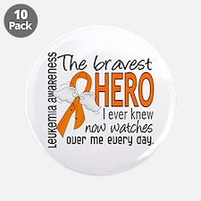 "Bravest Hero I Knew Leukemia 3.5"" Button (10 pack)"