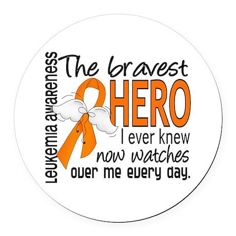 Bravest Hero I Knew Leukemia Round Car Magnet