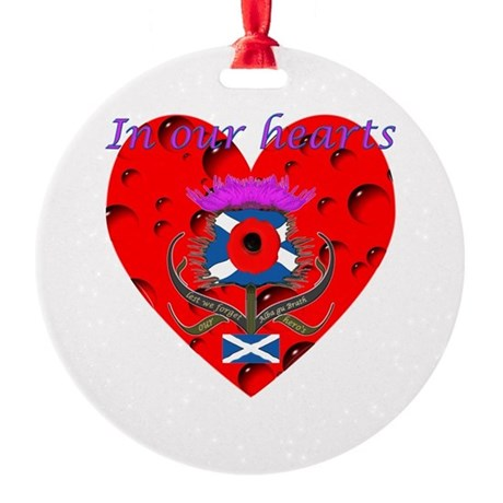 In our hearts military heros Round Ornament