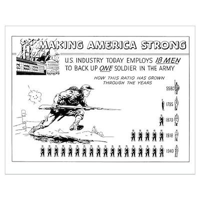 Digitally restored vector war propaganda poster. M Poster
