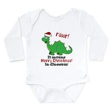 Dinosaur Christmas Long Sleeve Infant Bodysuit