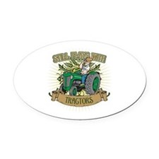 Still Plays with Green Tractors Oval Car Magnet