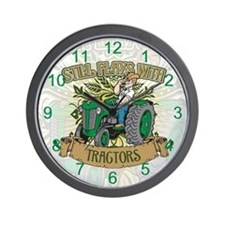 Still Plays with Green Tractors Wall Clock