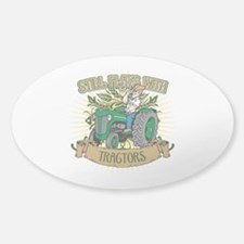 Still Plays with Green Tractors Sticker (Oval)